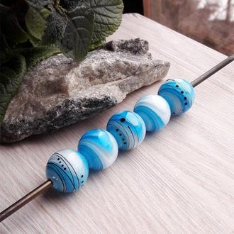 Бусины «Градиент» голубые