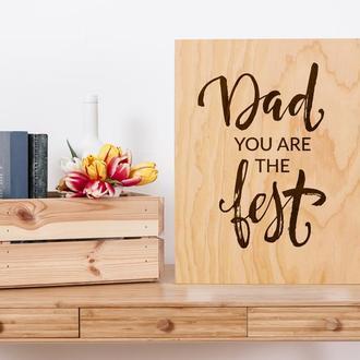 """Декоративная деревянная доска на стену """"Dad"""""""