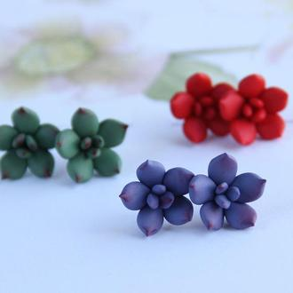 Серьги Cуккуленты цветы, (цвет на выбо - фиолетовый ил красный!)