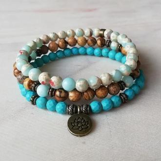 Набор браслетов из натуральных камней с подвеской лотос