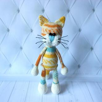 """Вязаная игрушка """"Цветной котик"""""""