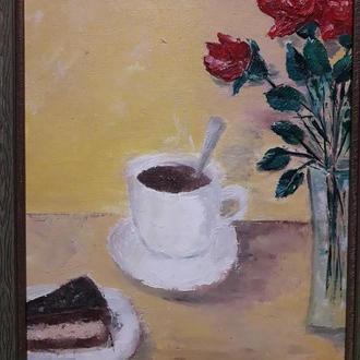 Смачна кава. Масло. Холст.40х30