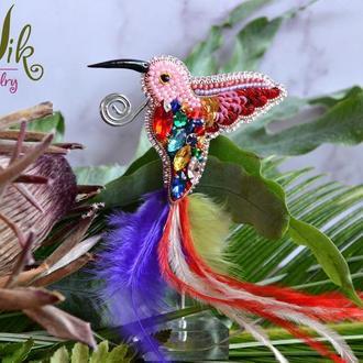 Брошь Яркая Цветная Колибри птица счастья