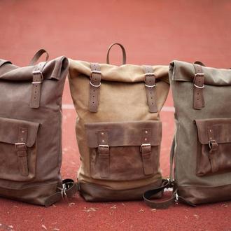 Рюкзак Roll Top Max из плотного хлопка и натуральной кожи