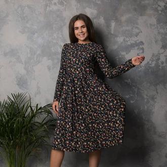 Цветочное платье из натурального тонкого вельвета хб