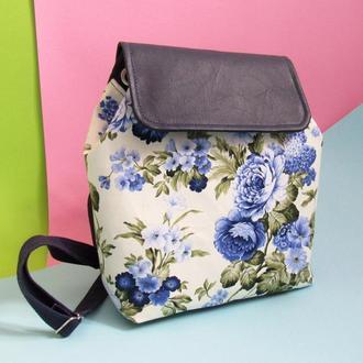 Рюкзак женский текстиль синие цветы