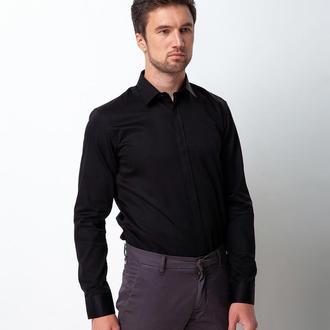 Рубашка приталенная черная 310-001