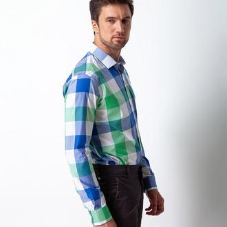 Рубашка приталенная в клетку 210-002