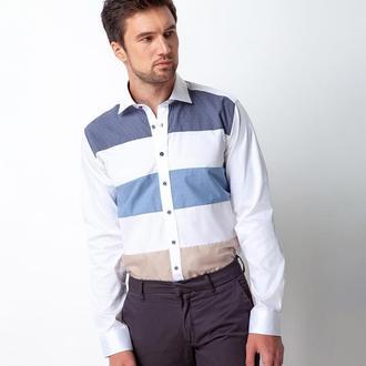 Рубашка приталенная с элегантным узором 310-003