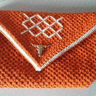 Косметичка Оранжевая Макраме, подарок девушке,