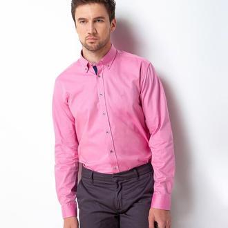Рубашка приталенная розовая 500-008