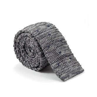 Краватка в'язаний сірий в точку 900-003