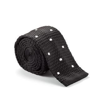 Галстук вязаный черный в точку 900-007