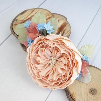 Заколка для волос с цветами, персиковая роза и гортензия