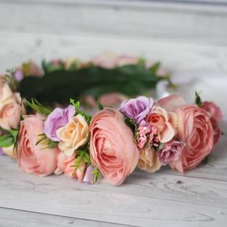 Венок на голову персиковый коралловый лавандовый, обруч с цветами