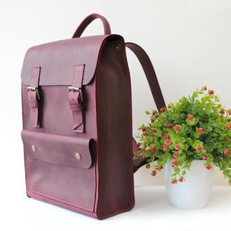 Рюкзак кожаный, городской рюкзак из натуральной кожи, для девушки, с отделением для ноутбука