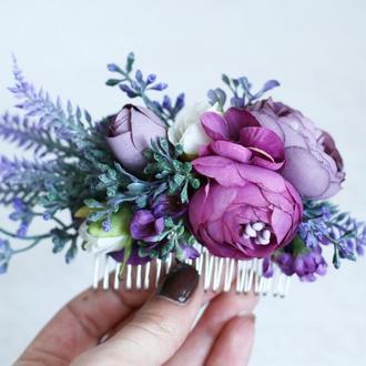 Лавандовый цветочный гребень