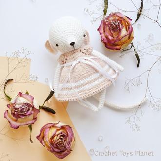 В'язана іграшка біла мишка, В'язана мишка, Вязаная мышь, Вязаная мышка, Вязаная игрушка мышка