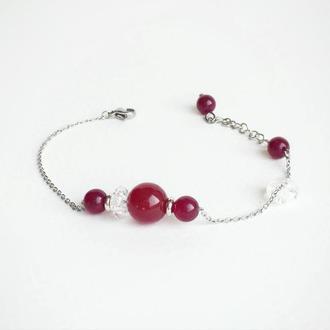 Гранатовый браслет из натуральных камней (модель № 258) JK jewelry