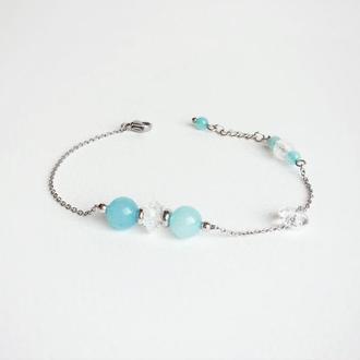 """Браслет из натуральных камней  """"Мятная бирюза""""  (модель № 262) JK jewelry"""