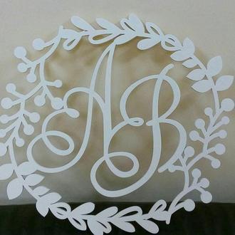 """Монограмма на свадьбу из дерева """"Ветка"""""""