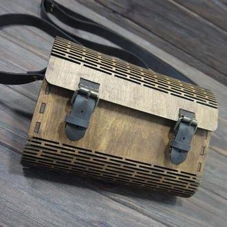 Деревянная сумка, сумка из фанеры, с элиментами натуральной кожи.