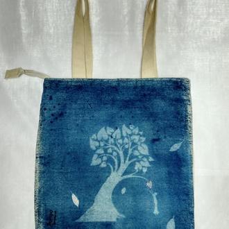 Эко сумка Дерево на молнии с подкладкой, подарок девушке