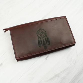 Жіноче шкіряне портмоне кольору марсала - Шкіряне портмоне з гравіюванням
