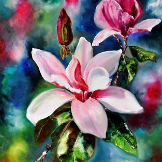 Картина маслом «Магнолия», 80х60 см, живопись цветы
