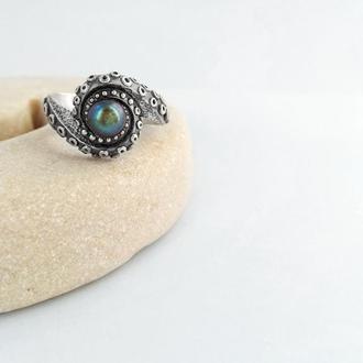 Жак-Ив, серебряное кольцо-осьминог с жемчужиной