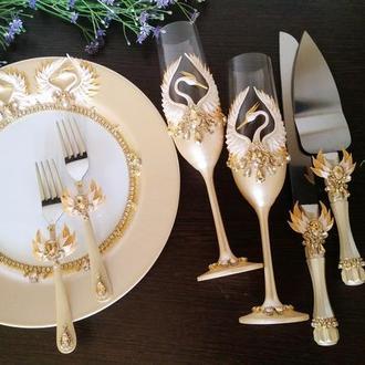 """Свадебный набор """" Журавли """" в золотом и бежевом цвете"""