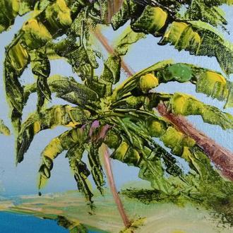 Картина Пальми, пляж, море - полотно, олія