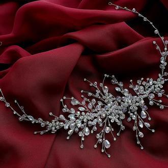 Свадебное украшение для волос, веточка в прическу,длинное украшение в прическу, аксессуар в прическу