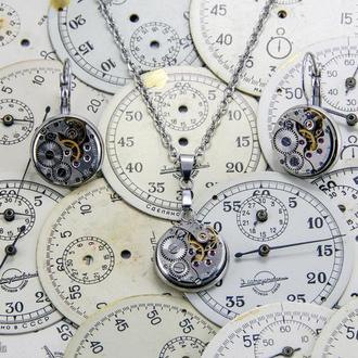 Строгий набор в стиле стимпанк минимализм с настоящими часами (в наличии)