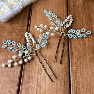 Шпильки для волос из голубого бисера и искусственных жемчужин (комплект из 2-х)