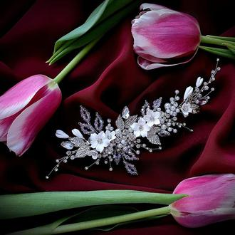Свадебное украшение для волос, веточка в прическу невесты, украшение в прическу, украшения