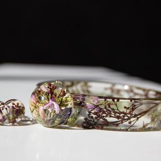 Комплект украшений из смолы с цветами (браслет, кулон, сережки)