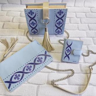 Набор аксессуаров, сумка, клатчбук, натуральная кожа, художественная роспись