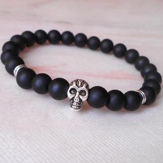 Черный мужской браслет из натуральных камней