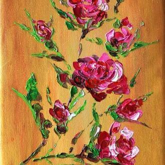 """Картина маслом, """"Розовые розы"""",  живопись мастихином,"""