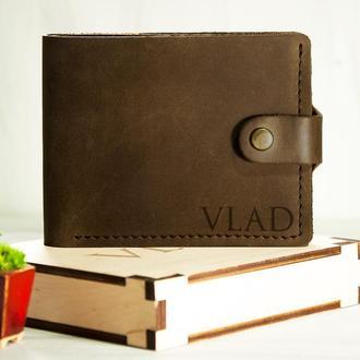 Кожаный кошелек с персональной гравировкой с отделением для ID карты, подарок мужчине