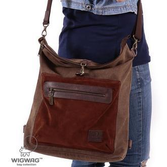 Женская сумка из коричневого канваса и кожи