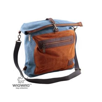 Жіноча сумка-трансформер, блакитний канвас і натуральна шкіра