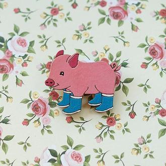 Значок Свинка из дерева \ в наличии 2 шт