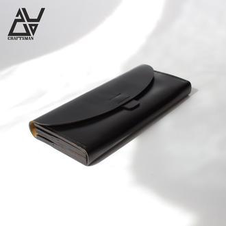 Женский кошелек из натуральной кожи. (WW003 black/g)