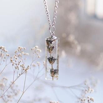 Прямоугольный кулон-кристалл с Лавандой