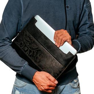 Чохол для ноутбука, шкіряний, чорний | Horizontal leather black case