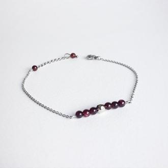 Гранатовый браслет на тонкой цепочке (модель № 343) JK jewelry