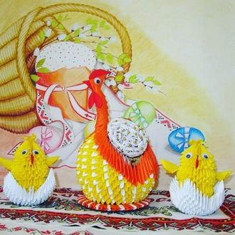 Модульное оригами. Пасхальная композиция курица с цыплятами.