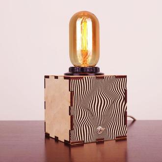 Деревянный ночной светильник с лампой Эдисона